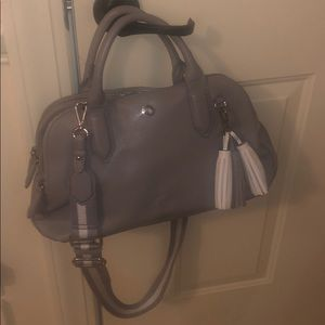 Nine West Faux Leather Bag with Fabric Strap
